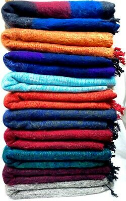 Yak Wool Blanket Throws Oversized Soft Shawl/Wrap Meditation Wrap Handmade Nepal • 29.99£