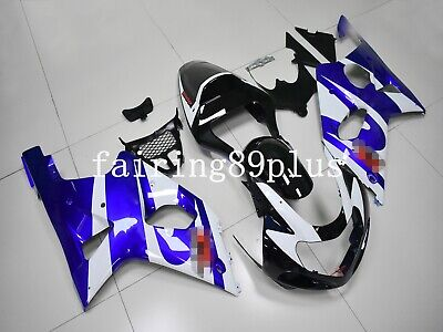 $529 • Buy Black Blue White ABS Injection Fairing Kit Fit For 2000-2002 GSXR1000