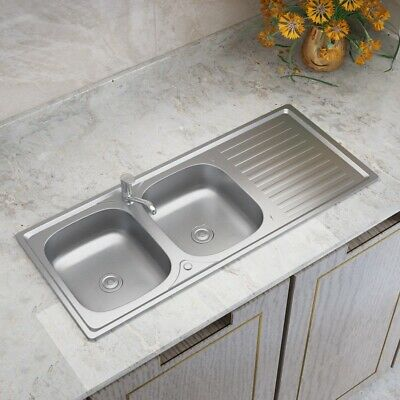 Stainless Steel Kitchen Double Sinks Inset Reversible Commercial Drainer Waste  • 90.95£