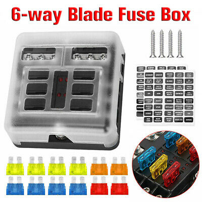 AU22 • Buy 19PCS 6 Way Blade Fuse Box Block Holder Indicator LED Light 12V For Car Marine