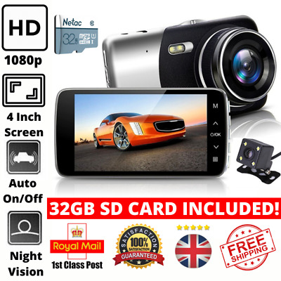 1080P HD Car Dash Cam Front And Rear Camera Video Recorder With 32GB SD Card • 33.95£