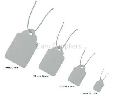 100 200 500 Kraft Paper Gift Tags Scallop Label Luggage Wedding + Strings White • 2.90£