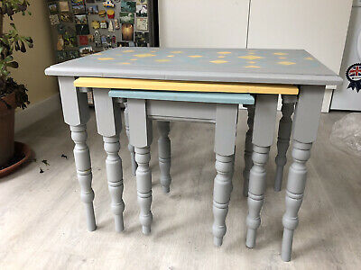 Painted Wooden Nest Of Tables In Three Colours. • 14£