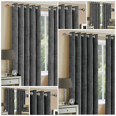 Plush Velvet Eyelet Ring Top Curtains Pair Grey Charcoal Ready Made Fully Lined • 43.99£
