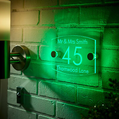 Illuminated House Signs, Modern Personalized Green LED Light Acrylic Plaque • 113.38£