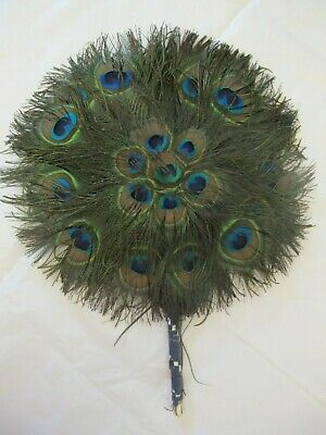 Antique Peacock Feather Hand Fan - Round Double Sided - Vintage 1920s • 5.99£