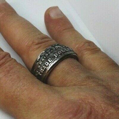 $19.99 • Buy Men's Large 12mm Wide Vintage Look Coin Style Ring Size 13