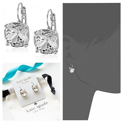 $ CDN39.10 • Buy Kate Spade Square Solitaire Drop Earrings Clear NWT