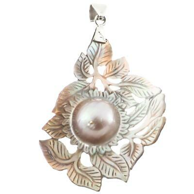 $29.95 • Buy 3  LEAVES HAND CARVING MABE BLISTER PEARL IN SHELL 925 STERLING SILVER Pendant