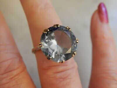 An Exceptional 9 Ct Gold  Large  8.00 Carat Blue Spinel Art Deco Ring • 101£