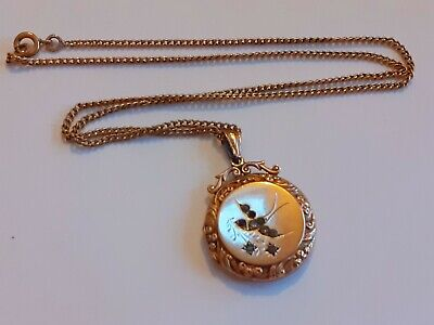 ANTIQUE 9ct GOLD BACK AND FRONT SWIFT DETAIL LOCKET ON CHAIN   • 11.50£