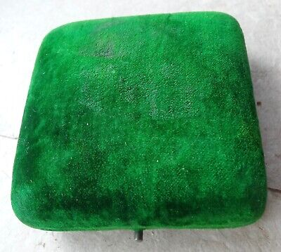 Antique Art Deco Bright Green Velvet Jewellery Box For Pendant Or Brooch -X144 • 50£