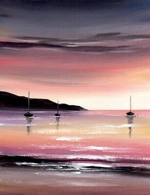 WATERCOLOUR PAINTING SEASCAPE Sea, Evening Sky, Boats, Beach, Sarah Featherstone • 12£