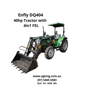 AU23990 • Buy 40hp Tractor With Front End Loader Enfly DQ404 - Bonus Slasher