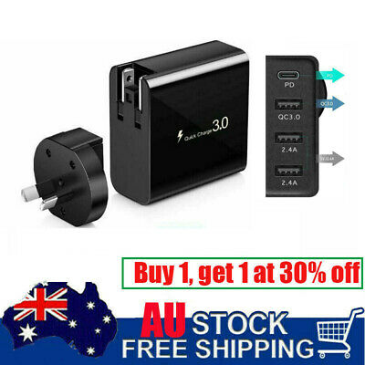 AU20.99 • Buy 4 Port USB QC3.0 Wall Charger Adapter 48W Fast Charging Phone Station Dock Plug