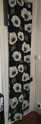 Sandown And Bourne Black White And Stone Poppy Floral Eyelet Curtains  • 4.99£