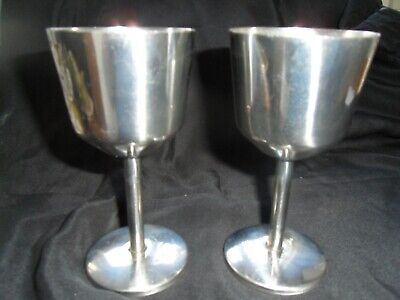Pair Gothic Stainless Steel Goblets/bar/wedding/banquet • 3.50£