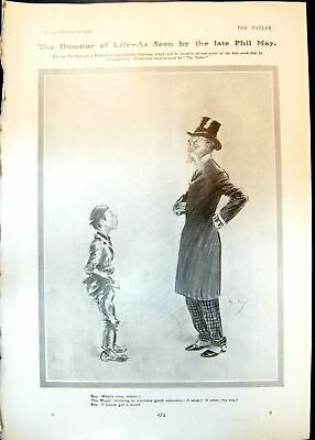 Antique Print Humour Phil May Boy Major Watch Piccadilly Walk Omnibus 1906 20th • 23£