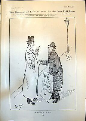 Antique Old Print Humour Hour Phil May Sketch City Lady Canvasser Smith 1906 • 23£
