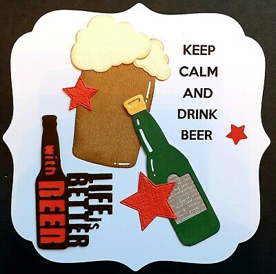 Handmade By Kaz Card Topper Birthday Beer Kerp Calm Male Luxury Large • 1.99£