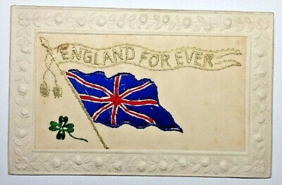 Ww1 Silk Embroidered Postcard - England For Ever • 8.99£