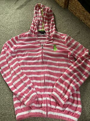 Girls Ralph Lauren Towelling Beach Hoodie Robe Size L(12-14) Pink Striped • 1.10£