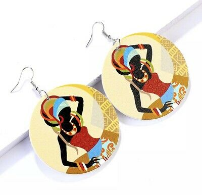 African Wooden Drop Earrings For Women Statement Round Fashion Jewels Vintage • 2.50£