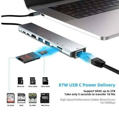 AU30.99 • Buy 8 IN 1 USB-C To 4K HDMI Dual USB3.0 Micro SD Card Reader Charger Adapter Hub AU