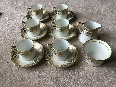Vintage Noritake Gold Embossed Basket Of Flowers Coffee/tea Set • 62.10£