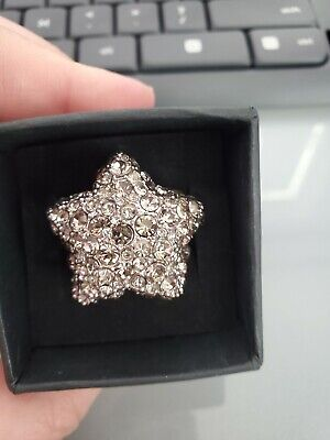 £36.26 • Buy NWT Marc By Marc JACOBS Sparkle Star Ring BLACK DIAMOND Adjustable