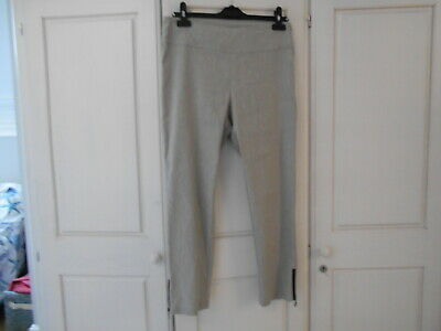 Sarah Pacini Light Grey Stretchy Linen Cropped Trousers W/Ankle Zips - 2/UK10-12 • 12.99£