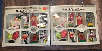 $ CDN48.12 • Buy LOT OF 2 VINTAGE CIRCUS CHRISTMAS TREE ORNAMENTS MUSICAL THEME CLOWN Non-working