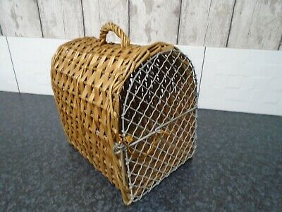 SMALL Vintage Old Wicker Cat / Dog Basket Cage Travel Carrier UPCYCLING ORNAMENT • 9.99£