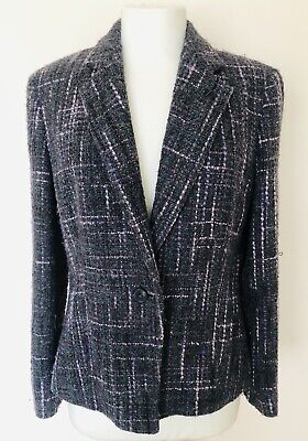 Ladies M & S Grey/ Purple Mix Wool Blend Fitted Jacket Size 16 • 7.50£