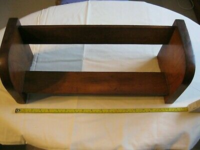 Vintage Wooden Book Trough Shelf Rack • 12£