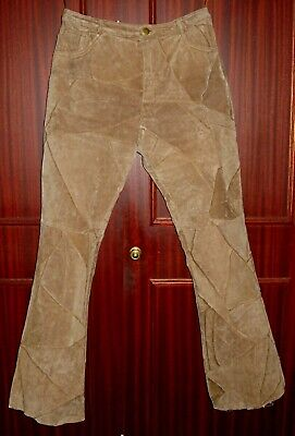 Vintage-Style KIT Brown Suede Patchwork Leather Trousers - Size 14 - Flaired • 6.90£