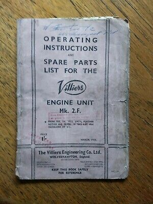 Villiers Engine Unit Mk.2F Operating Instructions And Parts List  1955 • 5£