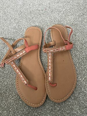 Dorethy Perkins Peach And Jewel Sandals Size 7 • 1.10£
