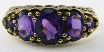 £279 • Buy Superior 9k 9ct Gold Aaa Amethyst 5 Stone Art Deco Ins Half Hoop Ring Free Size