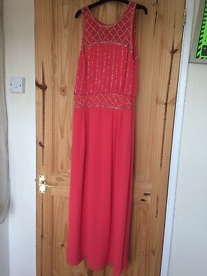 Coral Sparkly Grecian Maxi Dress, Petite Size 10, Spotlight At Warehouse • 1.50£