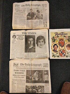 Charles & Diana's Wedding. Times, Telegraph And Radio Times. July 1981 • 2£