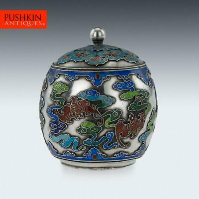 ANTIQUE 19thC CHINESE EXPORT SOLID SILVER & ENAMEL POT WITH COVER C.1880 • 523£