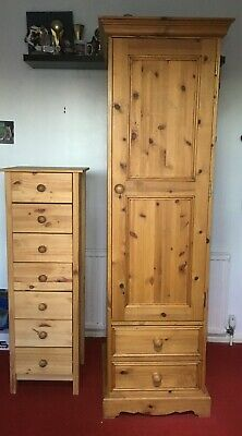 Solid Pine Single Wardrobe And Drawers • 51£