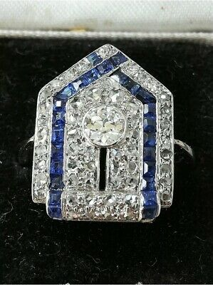Stunning 1920s Art Deco 18ct Diamond & Sapphire Ring - Free Delivery • 205.71£