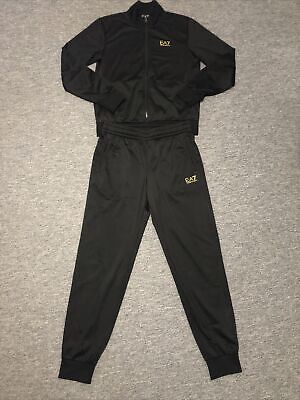 Mens Ea7 Emporio Armani Medium Black And Gold Tracksuit (Jacket And Joggers). • 55£