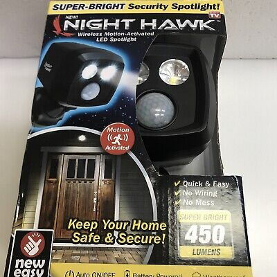 Night Hawk Motion-Activated Security Spotlight As Seen On TV Wireless LED Light • 21.44£
