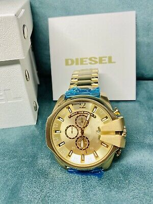 $114.75 • Buy Diesel Mega Chief DZ4360 Gold / Champagne Chronograph Dial Men's Watch With Tags
