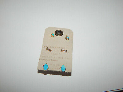 $ CDN36.10 • Buy Earrings Anthropologie Set Of 3 Turquoise Gold Delicate Tiny Mini New $48