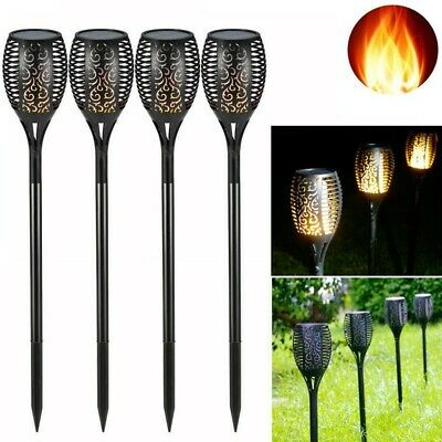 1/4 Pack Solar LED Flickering Landscape Lamp Dancing Flame Torch Garden Light UK • 12.99£