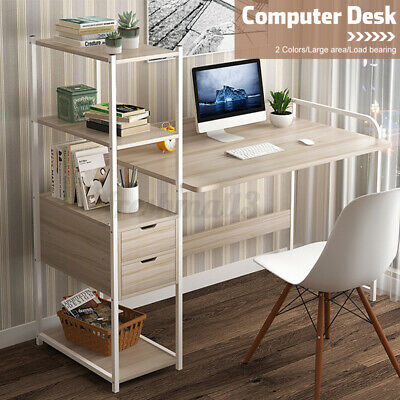 AU91.89 • Buy 5 Tier Computer Desk Table Home Office Study Workstation Bookshelf W/ 2 Drawers